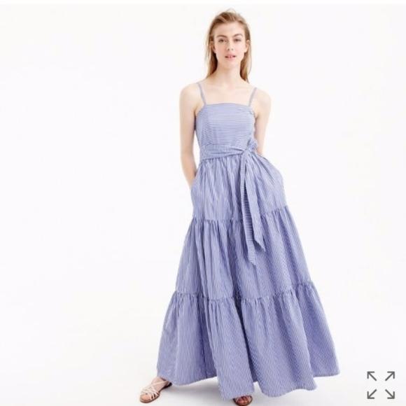 20a830ac8 J. Crew Dresses & Skirts - J.Crew Blue and White Tiered Striped Midi